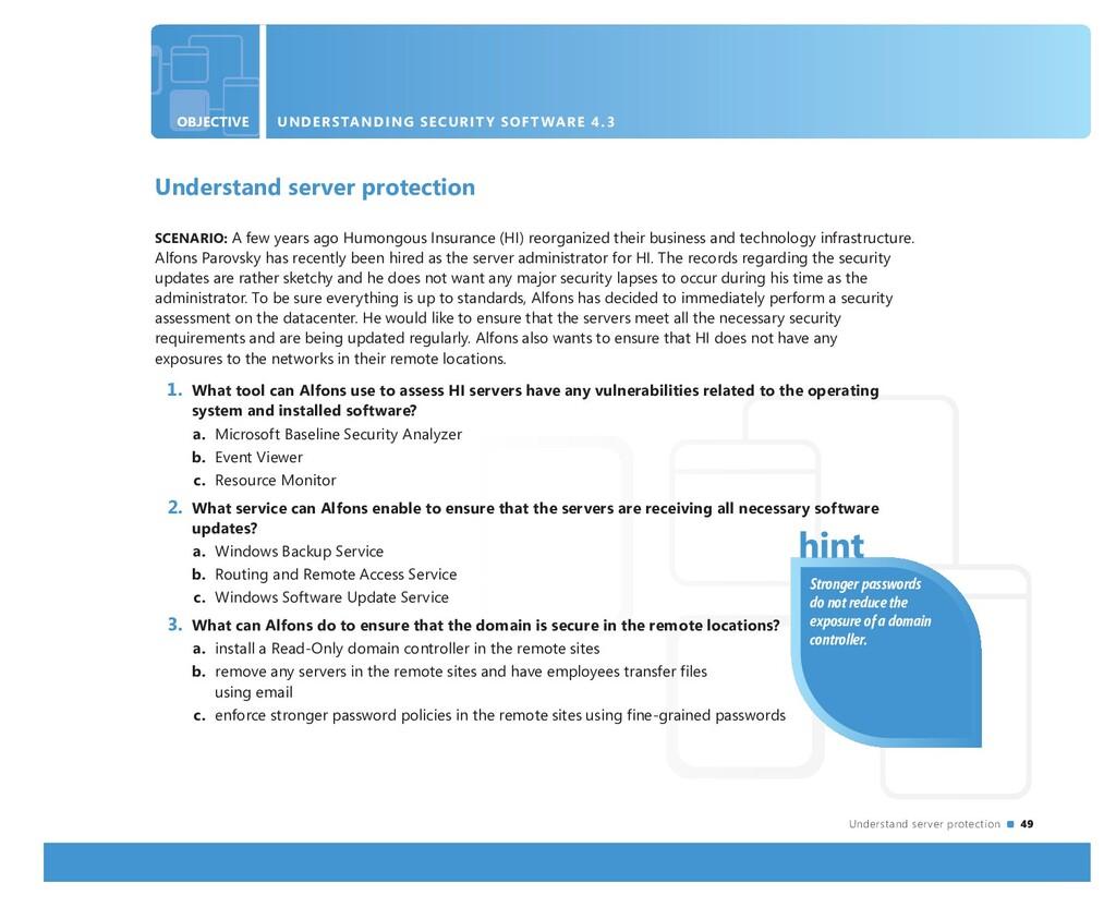 Understand server protection 49 OBJECTIVE UNDER...