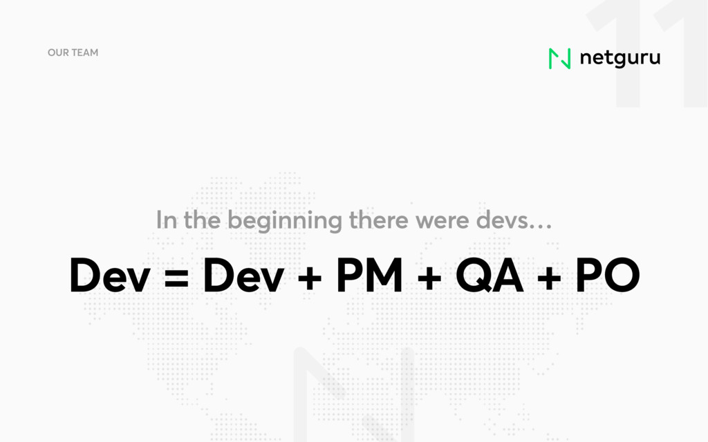 11 OUR TEAM Dev = Dev + PM + QA + PO In the beg...