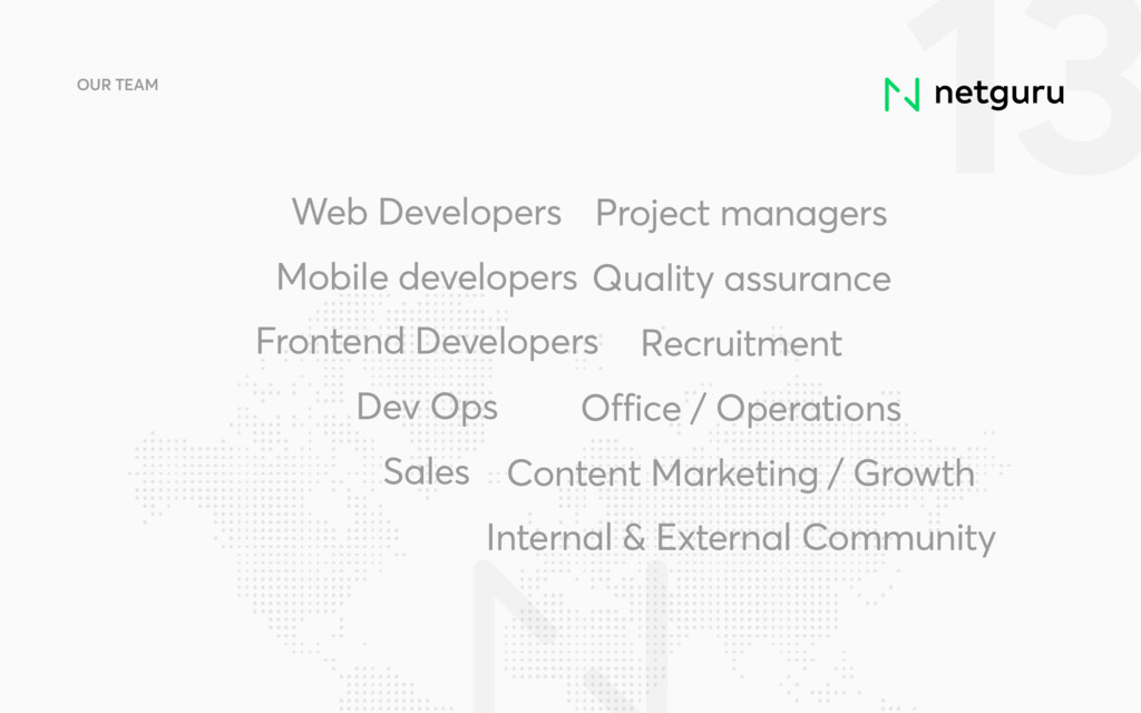 13 OUR TEAM Web Developers Mobile developers Fr...