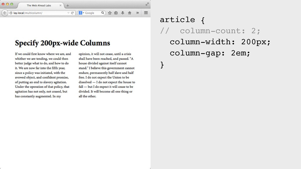 article { // column-count: 2; column-width: 200...