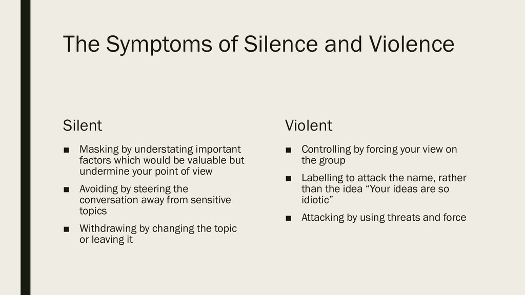 The Symptoms of Silence and Violence Silent ■ M...