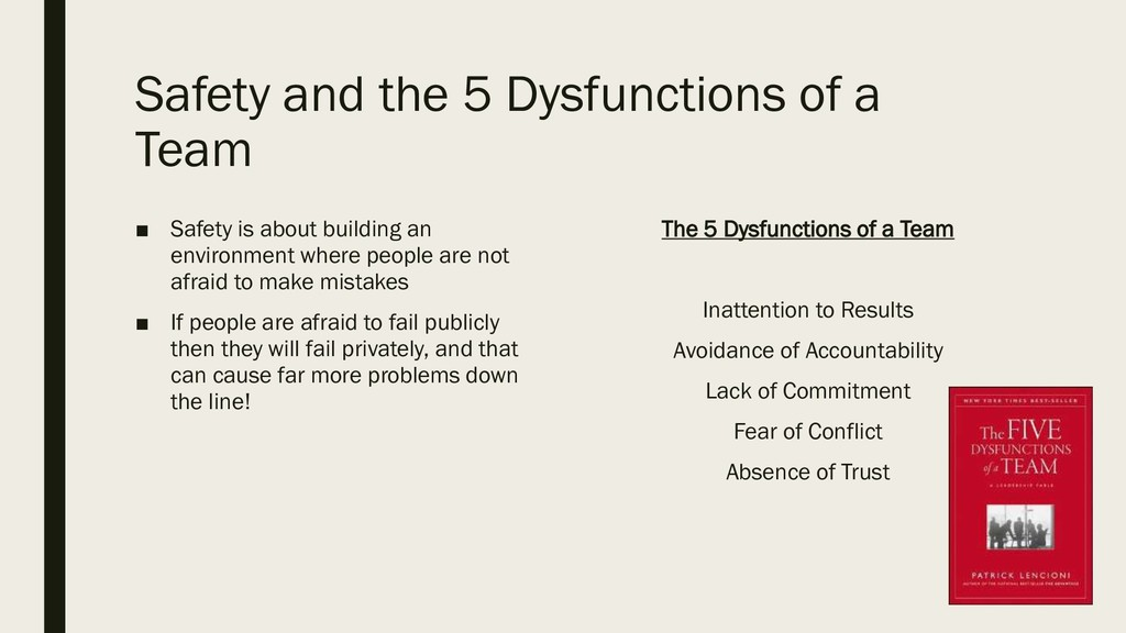 Safety and the 5 Dysfunctions of a Team ■ Safet...