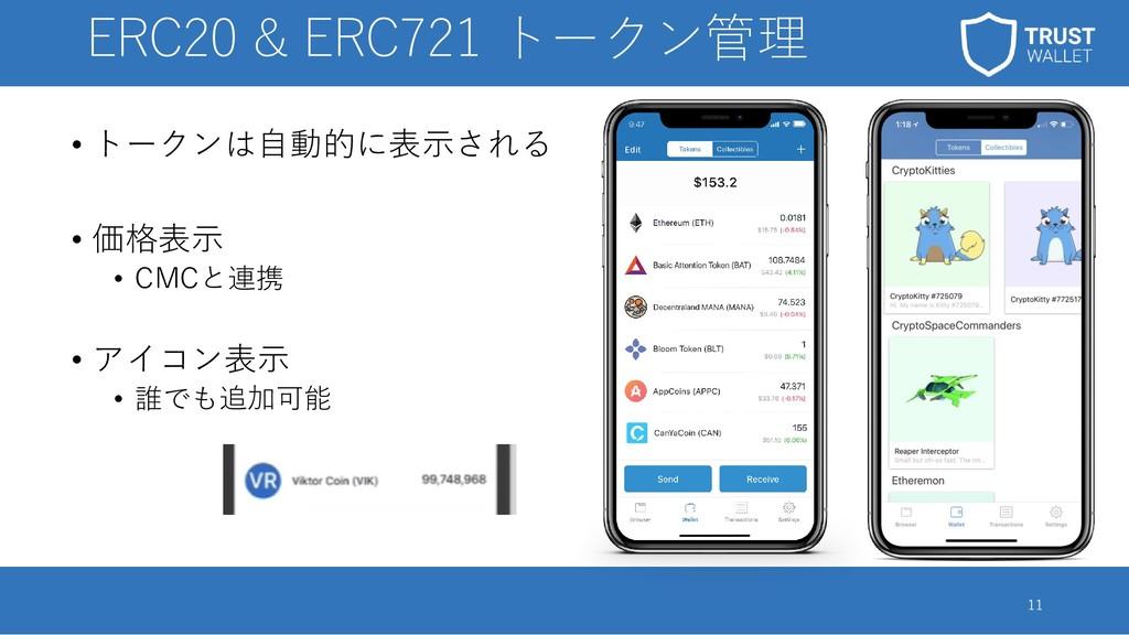 ERC20 & ERC721 トークン管理 • トークンは自動的に表示される • 価格表示 •...
