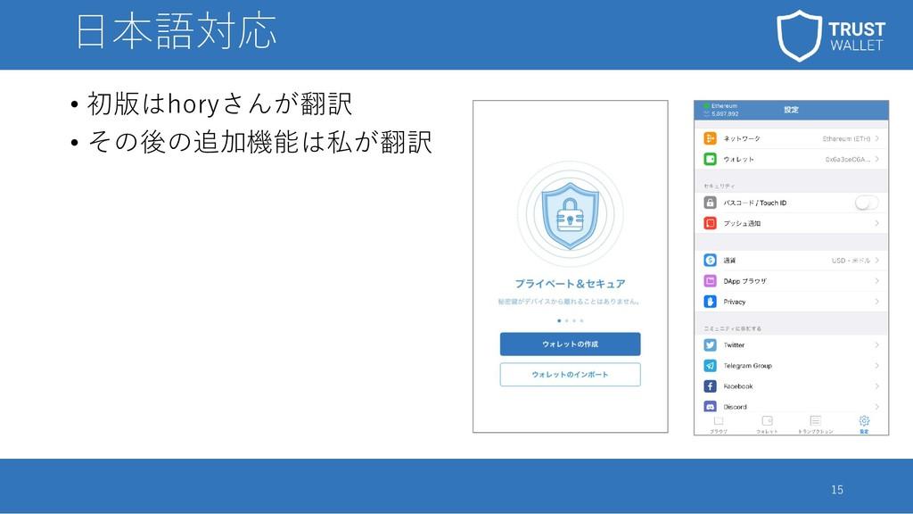 日本語対応 • 初版はhoryさんが翻訳 • その後の追加機能は私が翻訳 15