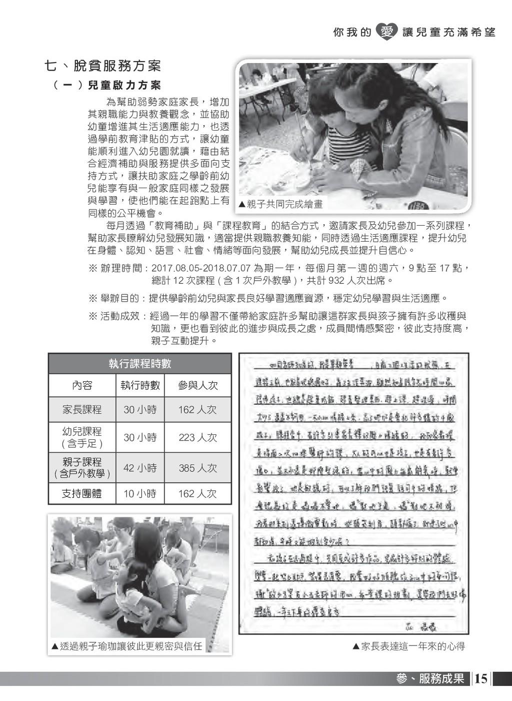 15 參、服務成果 七、 脫 貧 服 務 方 案 ( 一 ) 兒 童 啟 力 方 案 為幫助弱...