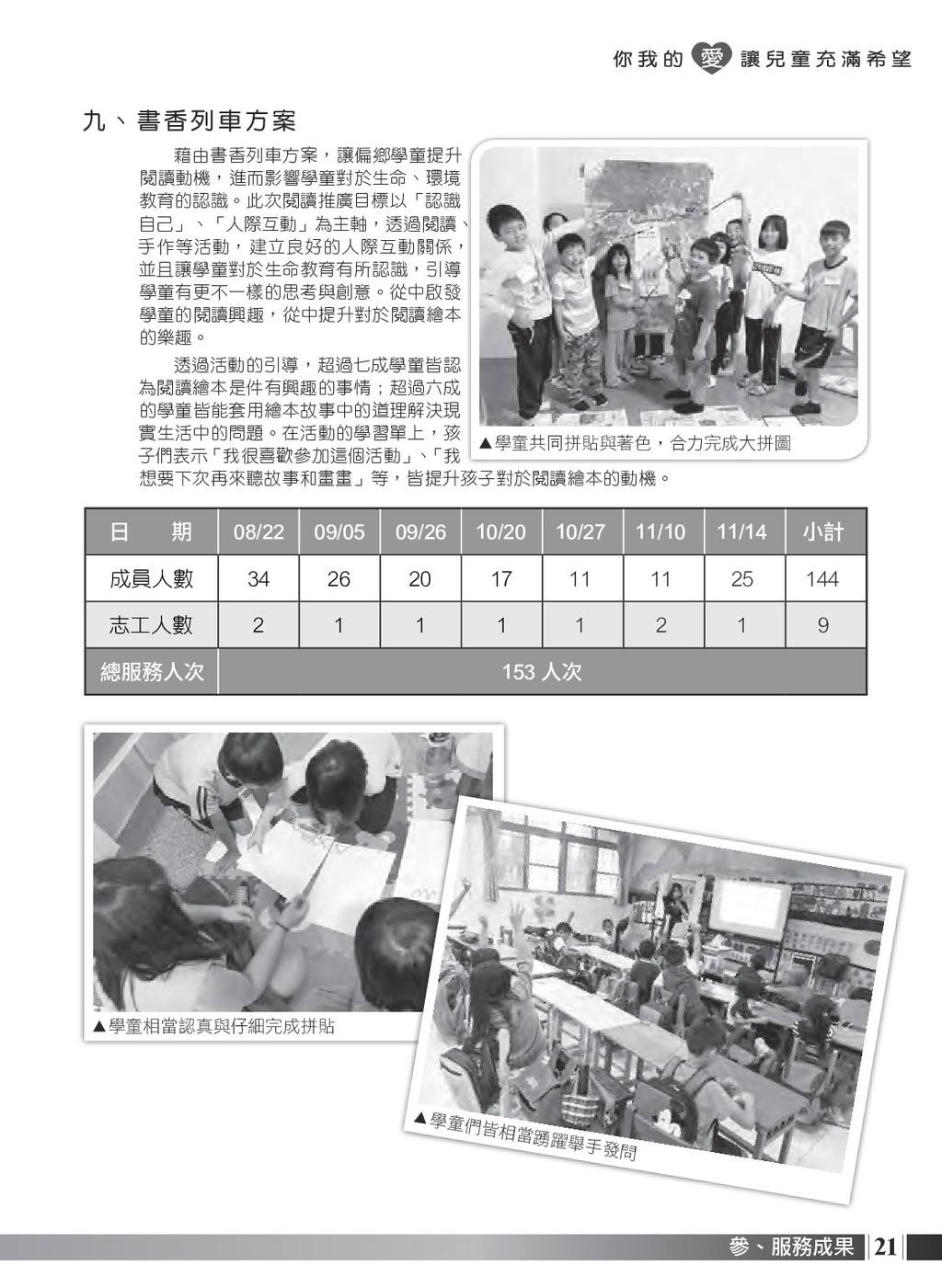 21 參、服務成果 九、 書香 列 車 方 案 藉由書香列車方案,讓偏鄉學童提升 閱讀動機,進...