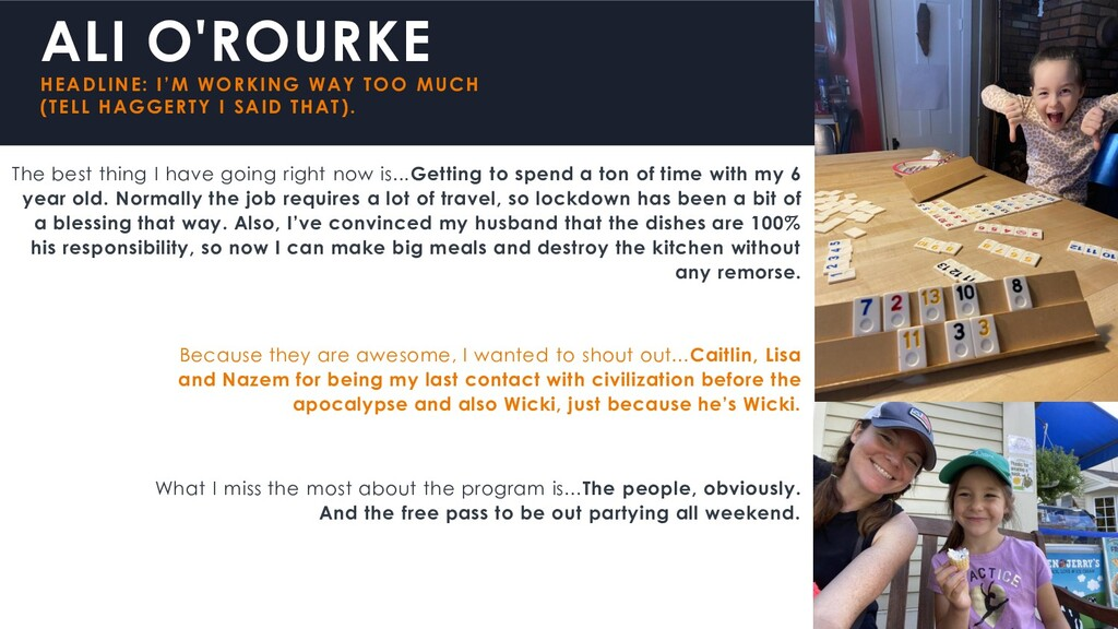 ALI O'ROURKE HEADLINE: I'M WORKING WAY TOO MUCH...