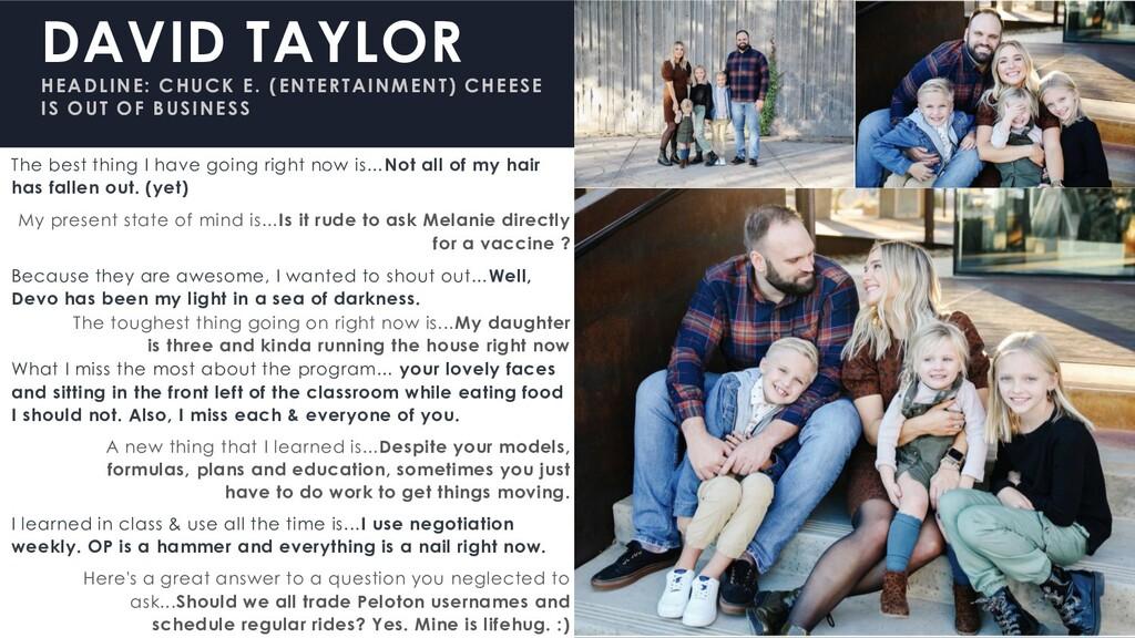 DAVID TAYLOR HEADLINE: CHUCK E. (ENTERTAINMENT)...