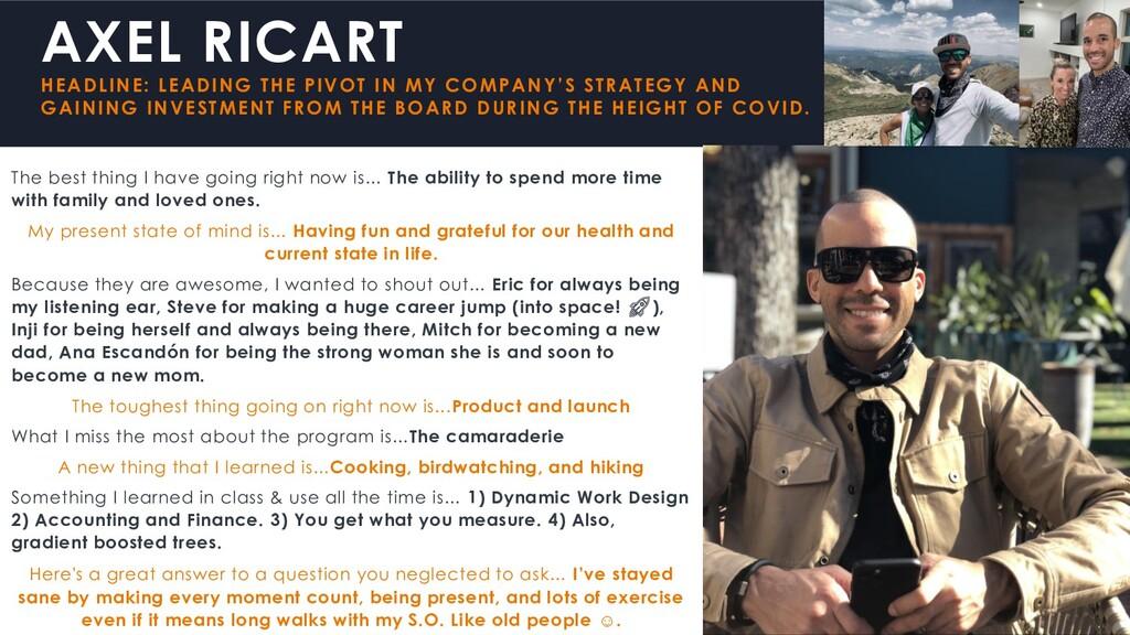 AXEL RICART HEADLINE: LEADING THE PIVOT IN MY C...