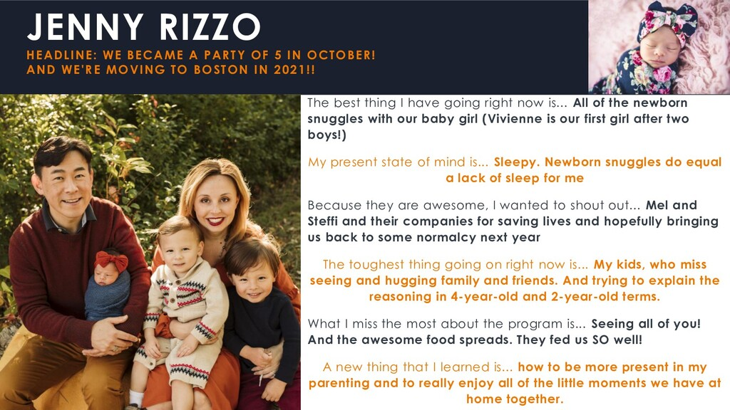 JENNY RIZZO HEADLINE: WE BECAME A PARTY OF 5 IN...