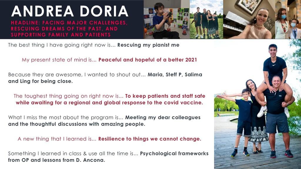 ANDREA DORIA HEADLINE: FACING MAJOR CHALLENGES,...