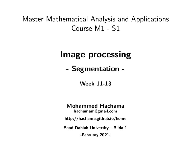 Master Mathematical Analysis and Applications C...