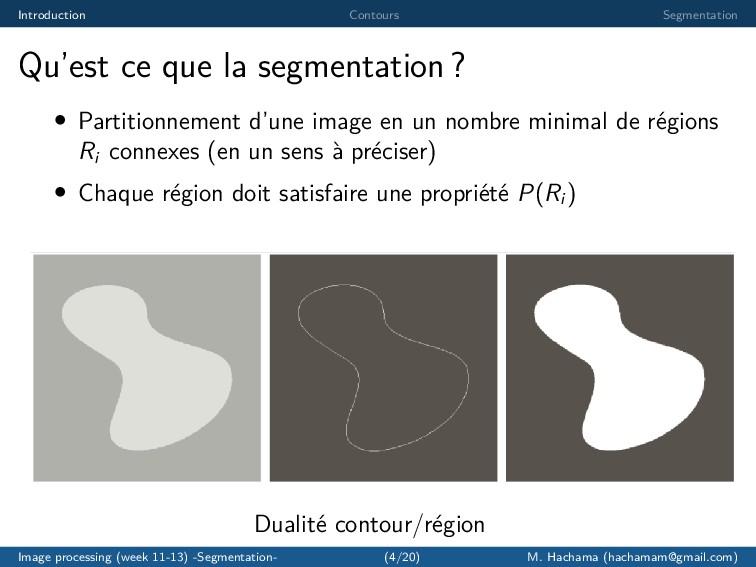 Introduction Contours Segmentation Qu'est ce qu...