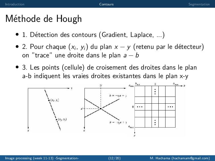 Introduction Contours Segmentation M´ ethode de...