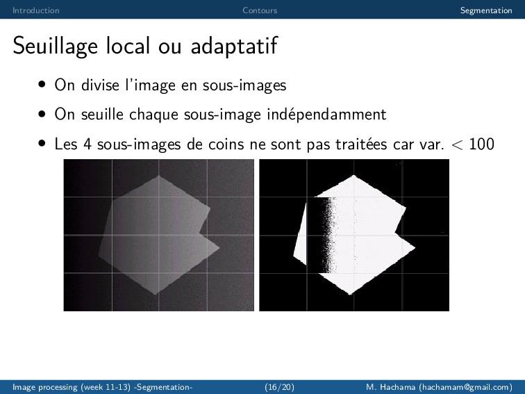 Introduction Contours Segmentation Seuillage lo...