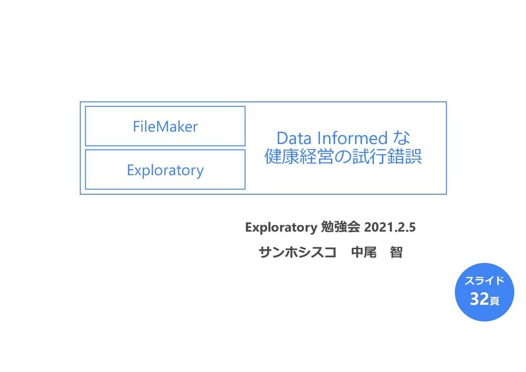 Data Informed な 健康経営の試⾏錯誤 Exploratory 勉強会 2021....