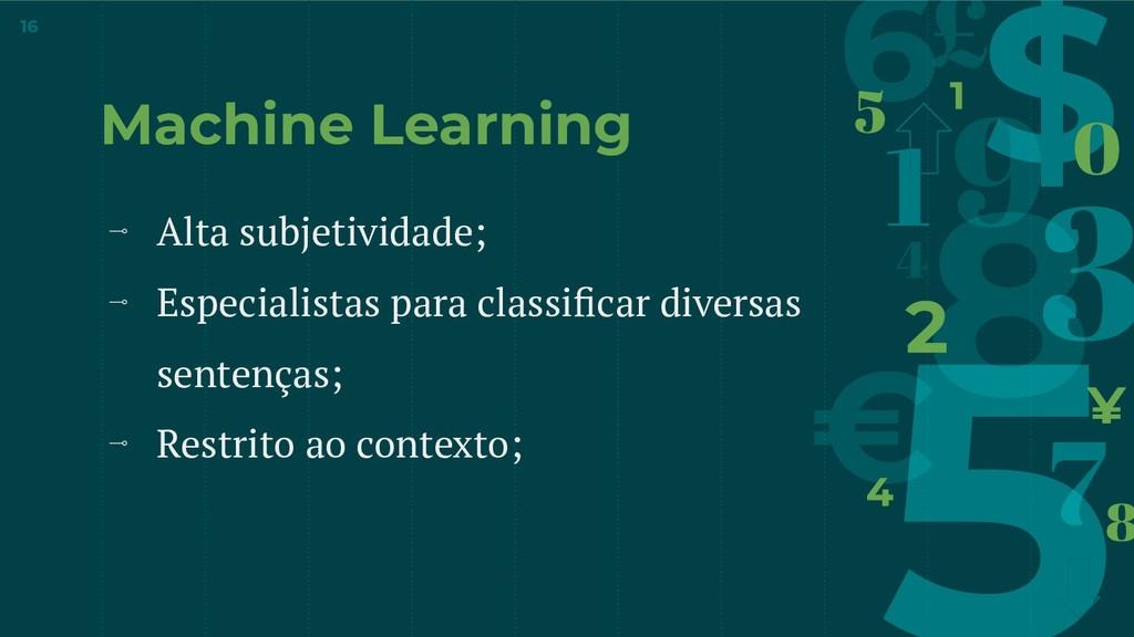 Machine Learning ⊸ Alta subjetividade; ⊸ Especi...