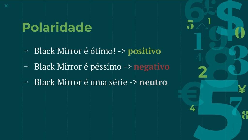 Polaridade ⊸ Black Mirror é ótimo! -> positivo ...