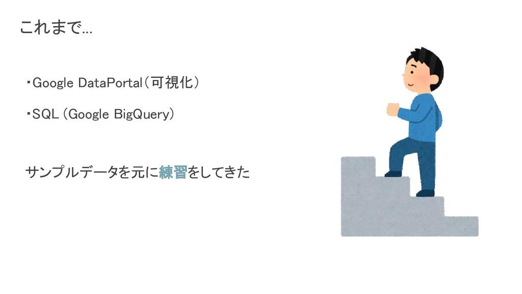 ・Google DataPortal(可視化) ・SQL (Google BigQuery)...