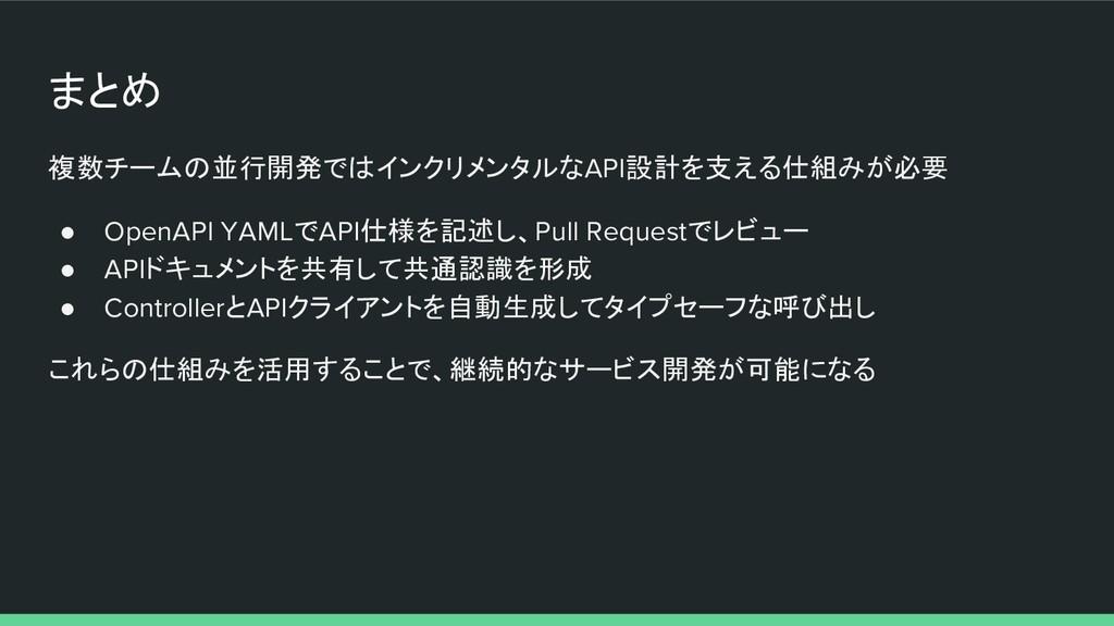 まとめ 複数チームの並行開発ではインクリメンタルなAPI設計を支える仕組みが必要 ● Open...