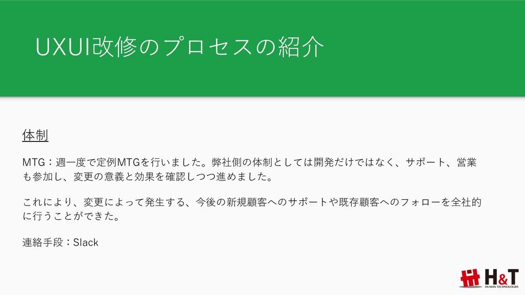 UXUI改修のプロセスの紹介 体制 MTG:週⼀度で定例MTGを⾏いました。弊社側の体制として...