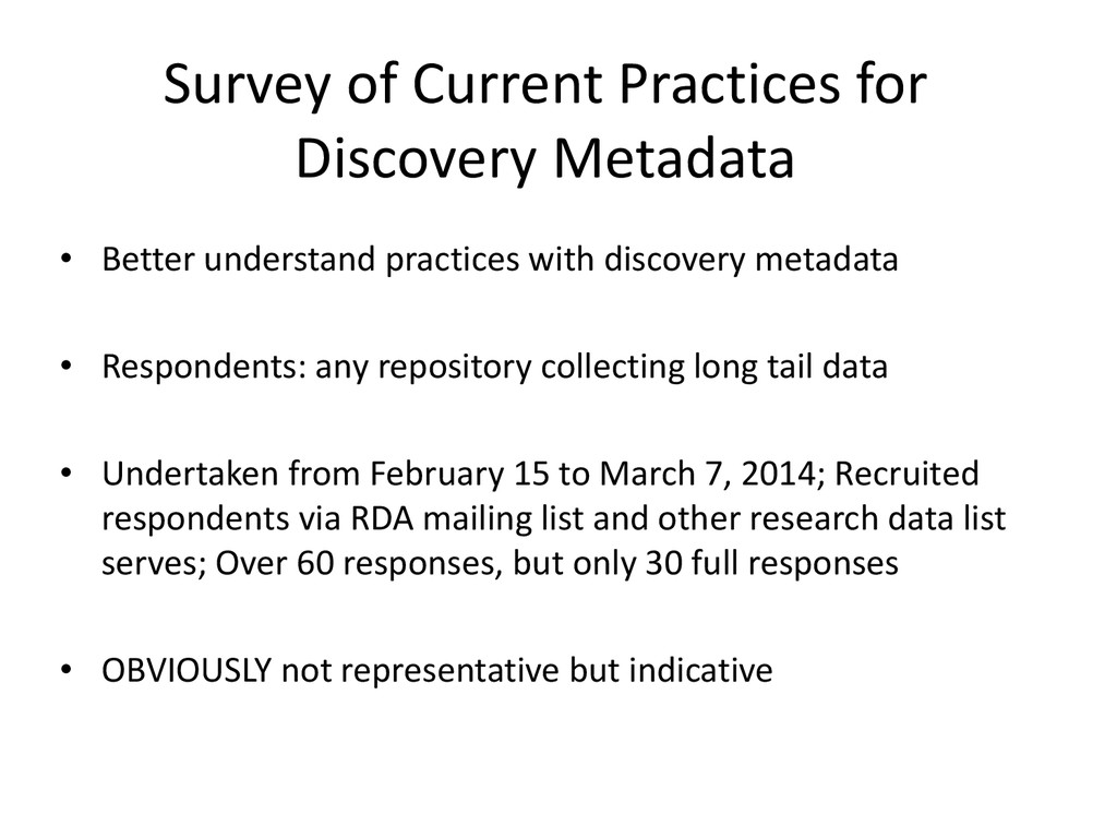 Survey of Current Practices for Discovery Metad...