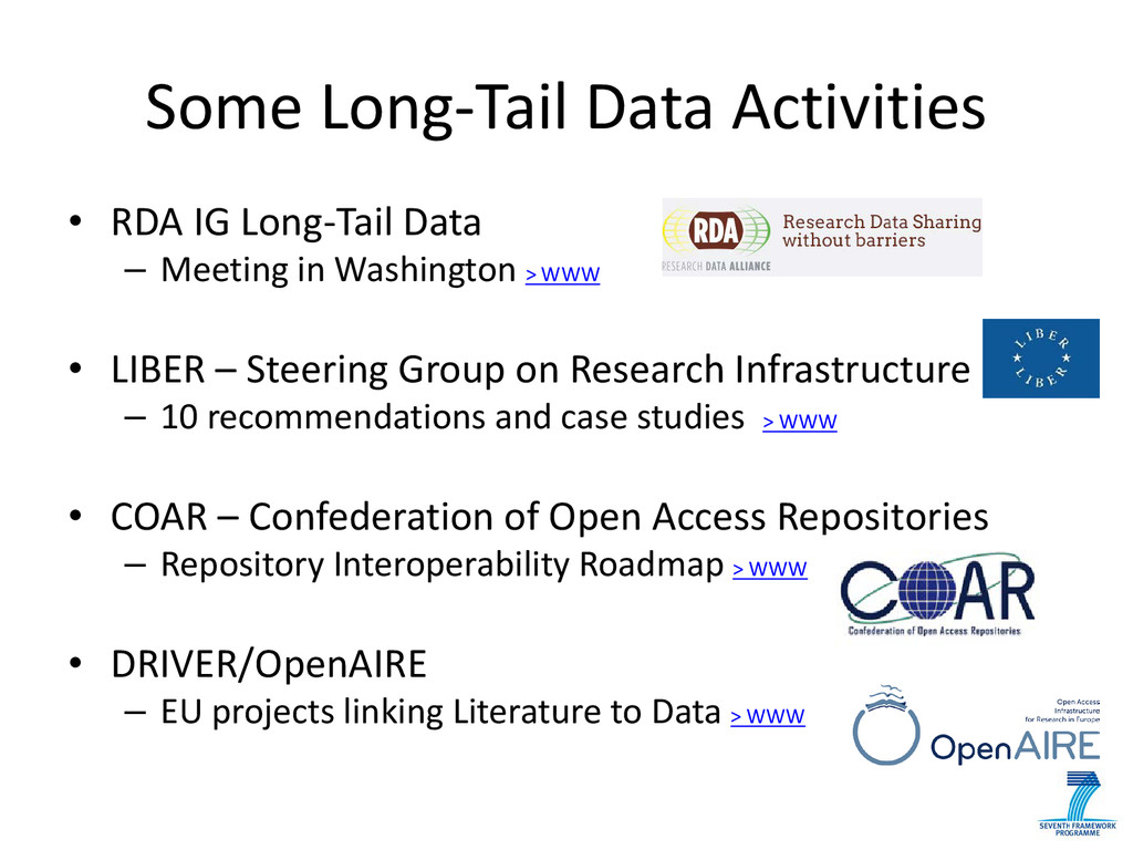 Some Long-Tail Data Activities • RDA IG Long-Ta...