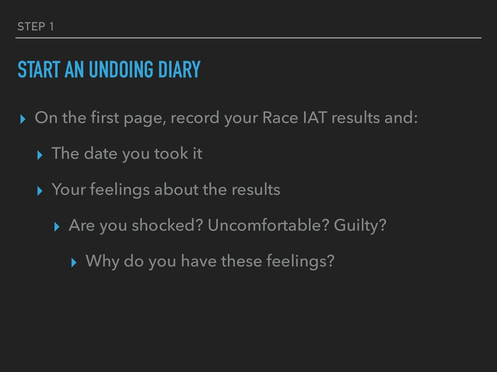 STEP 1 START AN UNDOING DIARY ▸ On the first pag...