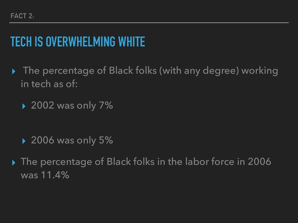 FACT 2: TECH IS OVERWHELMING WHITE ▸ The percen...