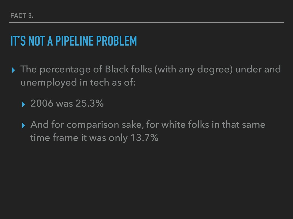 FACT 3: IT'S NOT A PIPELINE PROBLEM ▸ The perce...