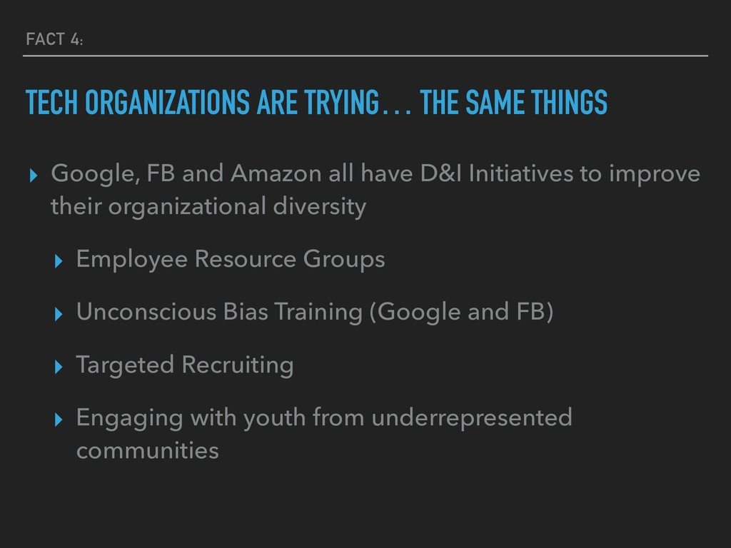 FACT 4: TECH ORGANIZATIONS ARE TRYING… THE SAME...