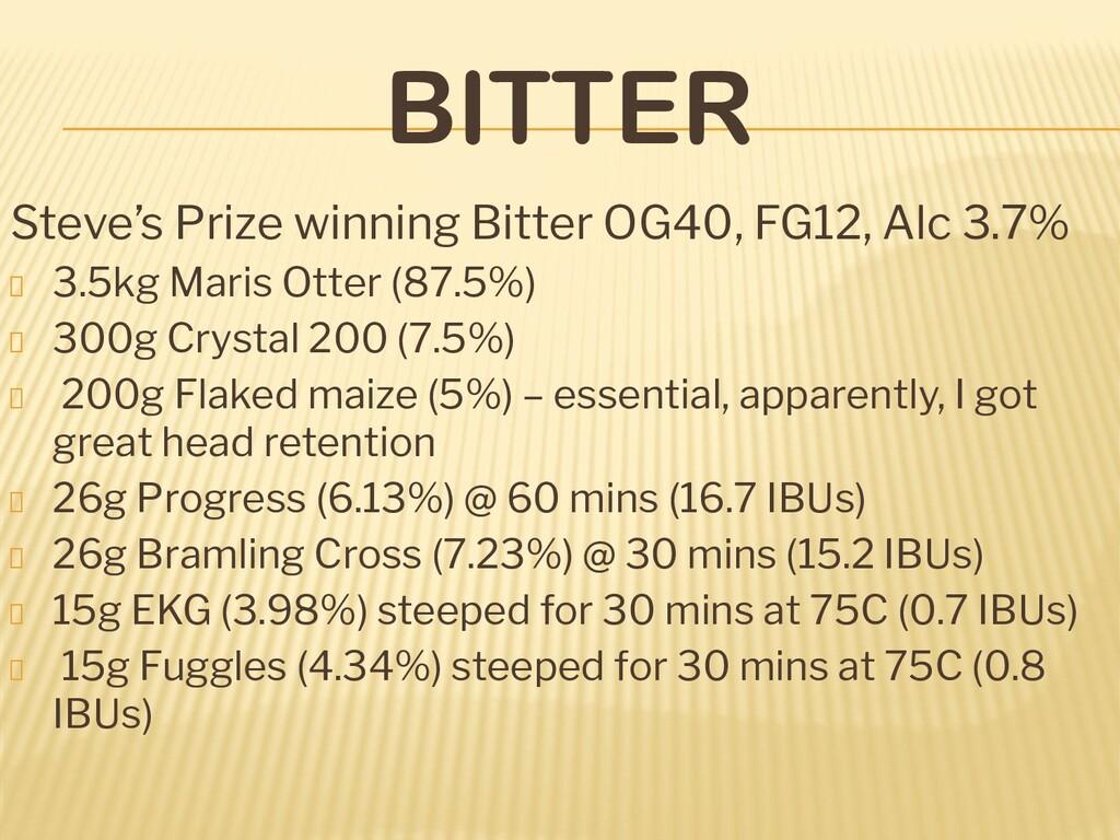 BITTER Steve's Prize winning Bitter OG40, FG12,...