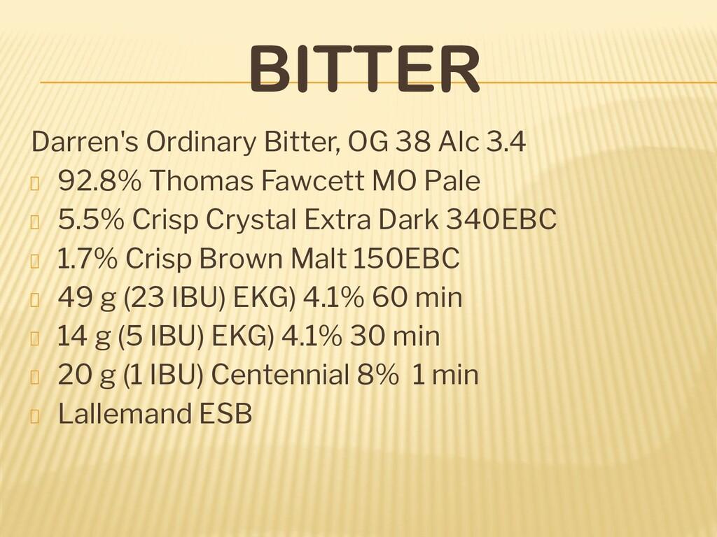 BITTER Darren's Ordinary Bitter, OG 38 Alc 3.4 ...