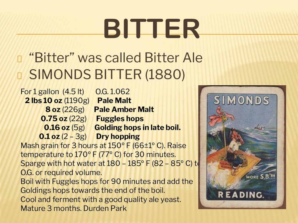 "BITTER ""Bitter"" was called Bitter Ale SIMONDS B..."