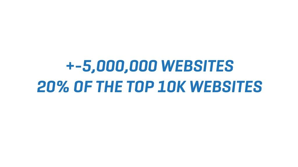 +-5,000,000 WEBSITES 20% OF THE TOP 10K WEBSITES
