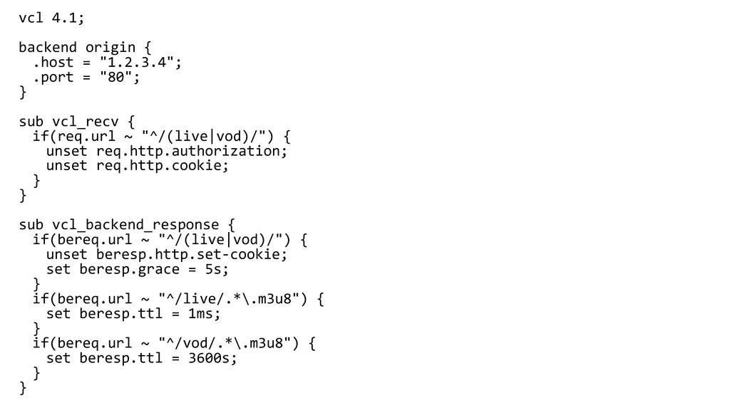 """vcl 4.1; backend origin { .host = """"1.2.3.4""""; .p..."""