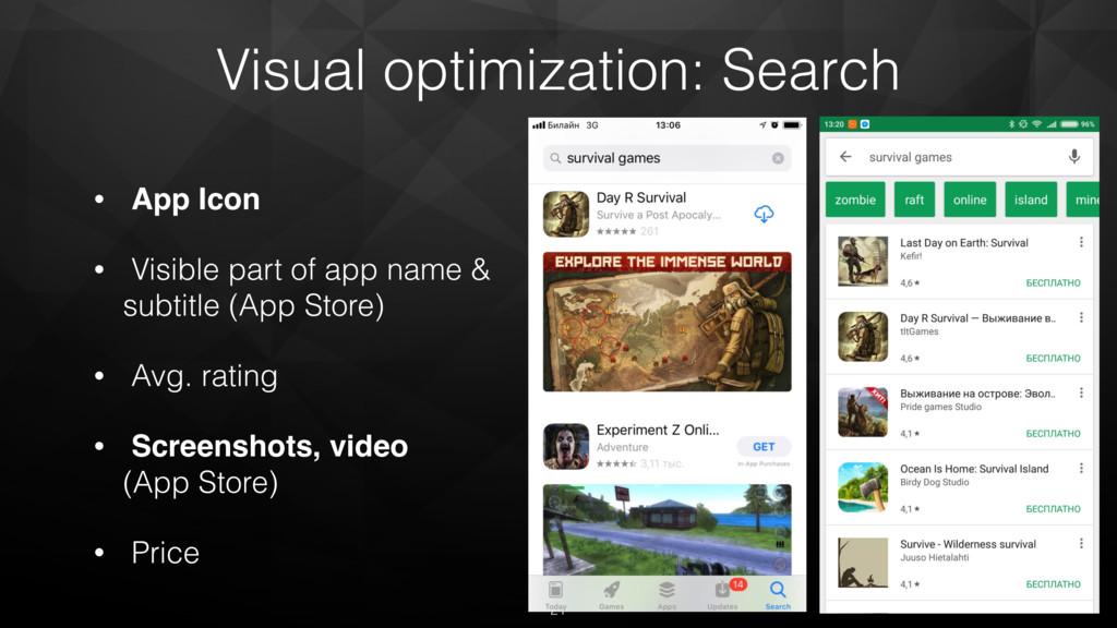 Visual optimization: Search • App Icon • Visibl...