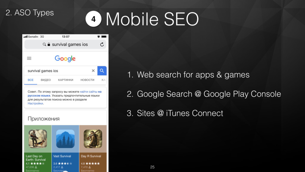 Mobile SEO 2. ASO Types 4 1. Web search for app...