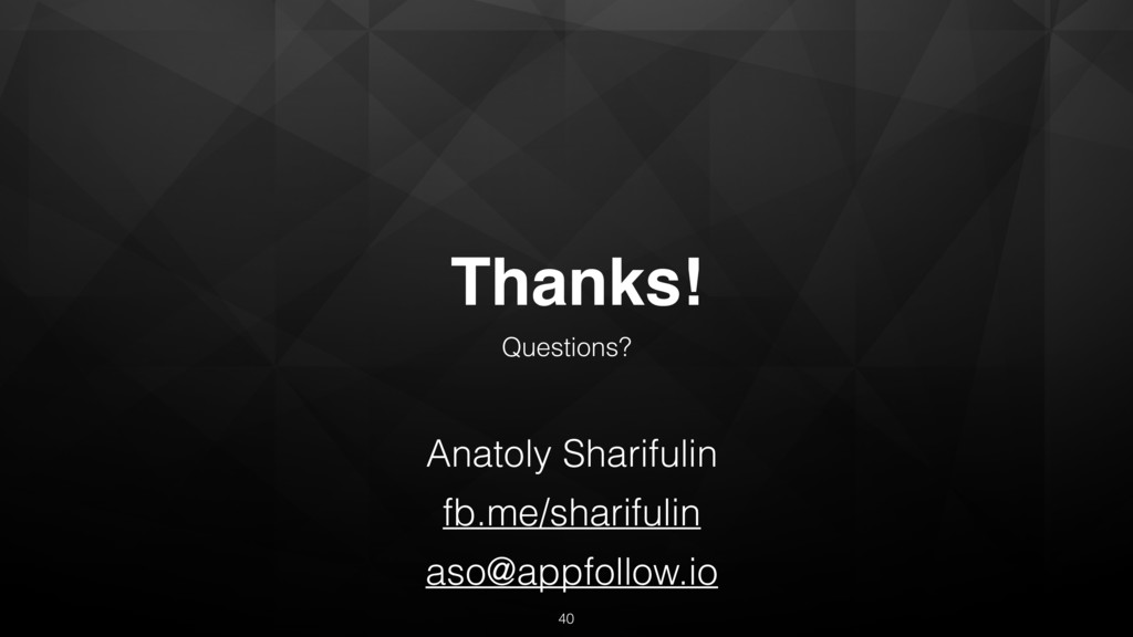 Thanks! Questions? Anatoly Sharifulin fb.me/sha...