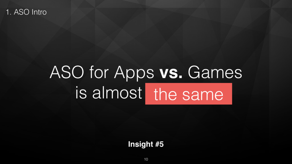 ASO for Apps vs. Games is almost the same Insig...