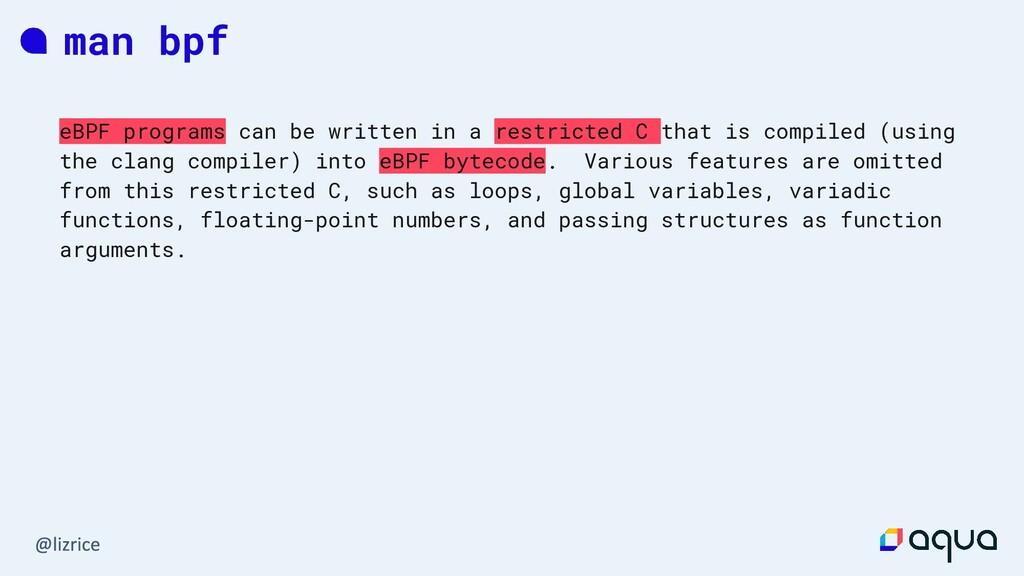 man bpf eBPF programs can be written in a restr...