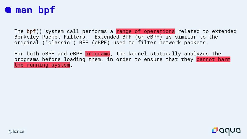 man bpf The bpf() system call performs a range ...