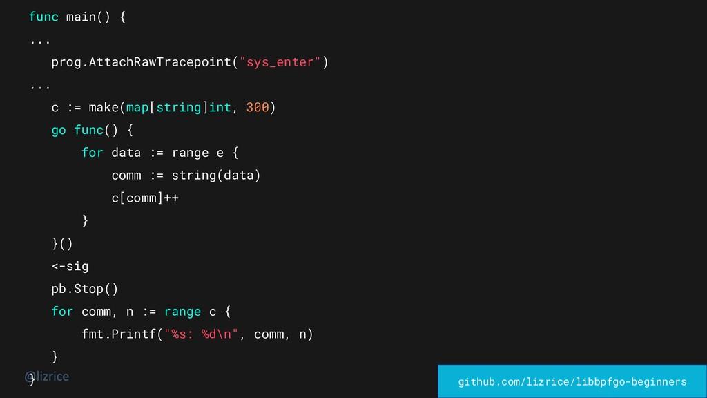 "func main() { ... prog.AttachRawTracepoint(""sys..."
