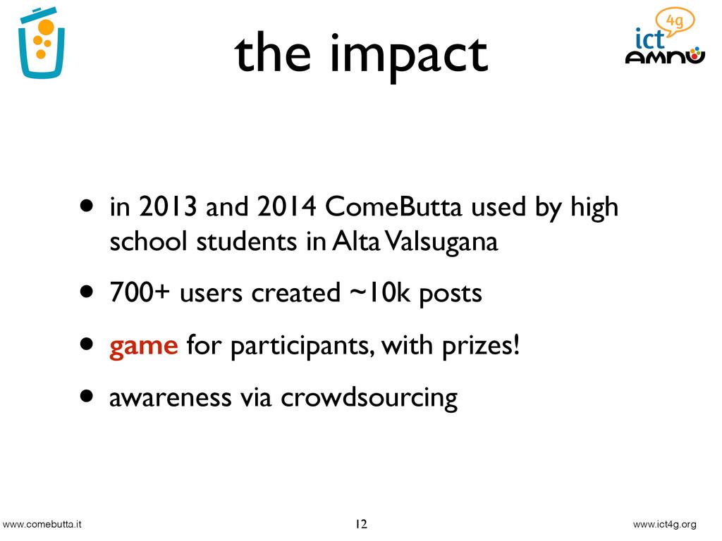 www.comebutta.it www.ict4g.org the impact 12 • ...