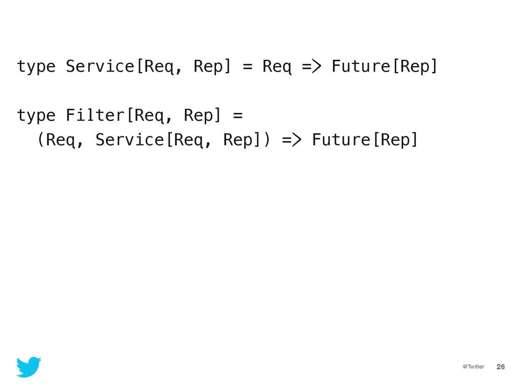 @Twitter 26 type Service[Req, Rep] = Req => Fut...