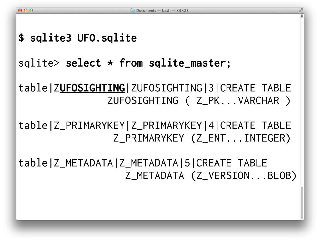 $ sqlite3 UFO.sqlite sqlite> select * from sqli...