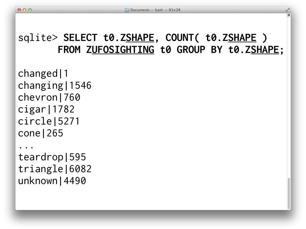 sqlite> SELECT t0.ZSHAPE, COUNT( t0.ZSHAPE ) FR...