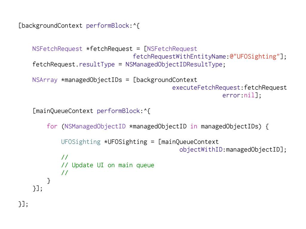 [backgroundContext performBlock:^{ NSFetchReque...
