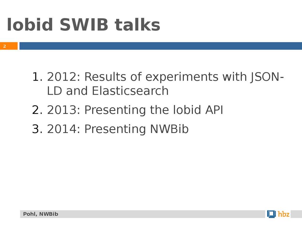 lobid SWIB talks 2 1. 2012: Results of experime...