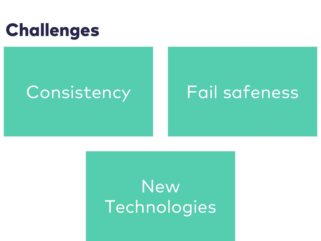 Challenges Consistency Fail safeness New Techno...